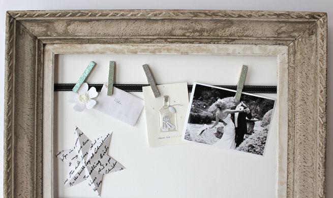Marco expositor con pinzas de madera - Marcos de fotos para colgar ...