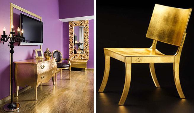 Cómo decorar con muebles dorados