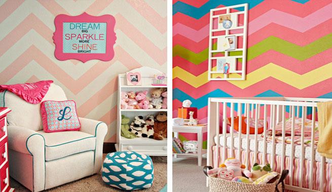 Paredes con zigzag estilo chevron - Habitaciones pintadas con rayas ...
