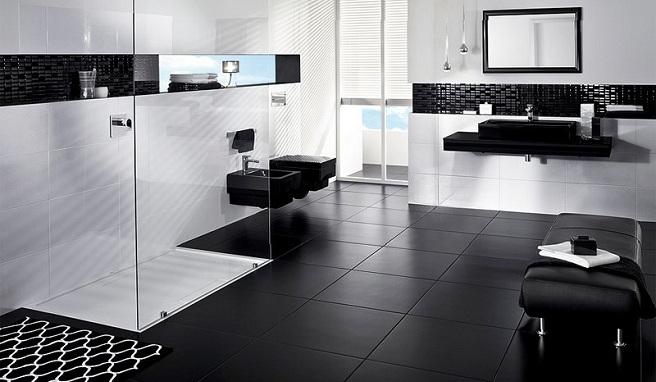 Baño Blanco Piso Gris:Cuartos de baño en blanco y negro