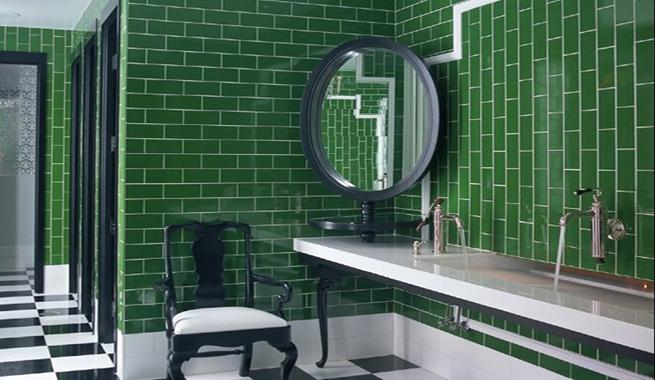 Azulejos Baño Verdes:Baños en color verde esmeralda