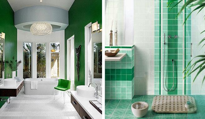 Baños Color Verde Oscuro:Para un toque de color, colores como el verde y el naranja