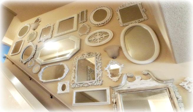 Decorar con grupos de espejos for Espejos grandes plateados