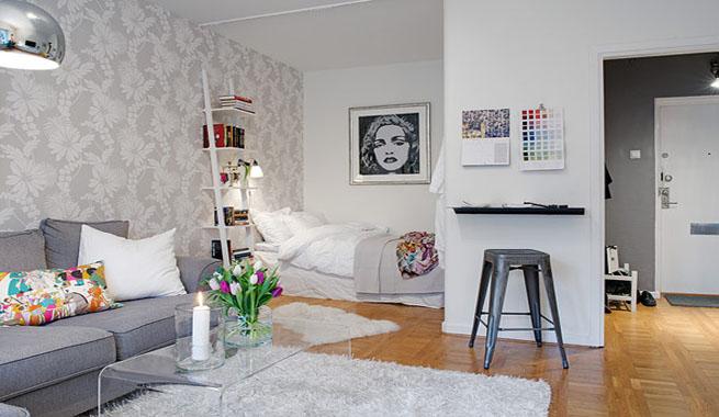 Un apartamento decorado en gris for Dormitorios decorados en gris
