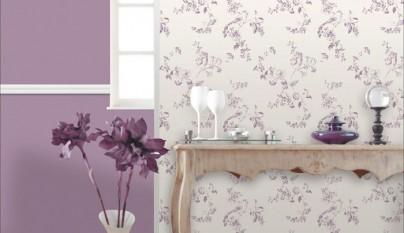 Leroy Merlin papel pintado flores purpura