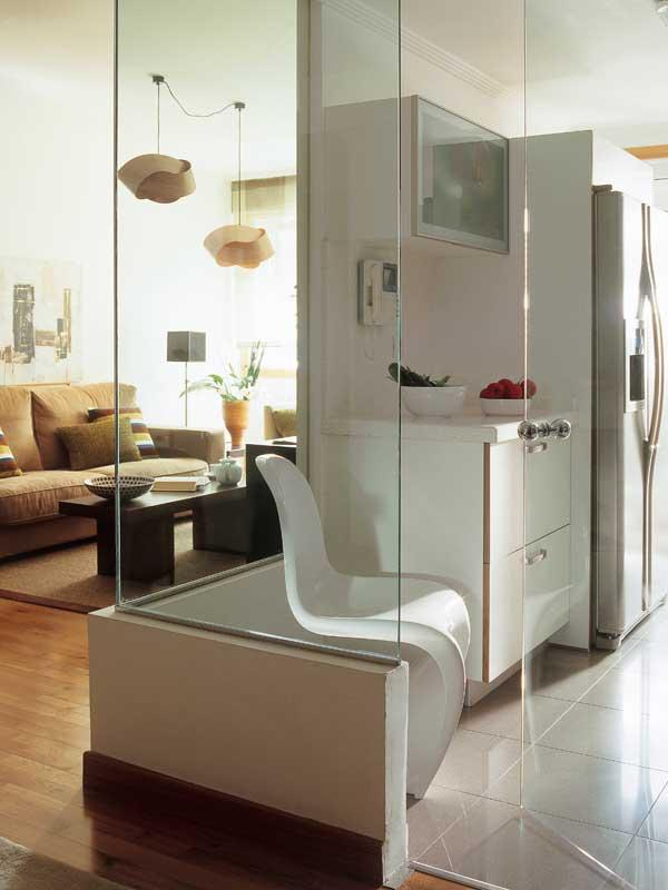 Awesome Excepcional Pared Cristal Cocina Salon Ilustración   Ideas De .