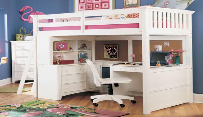 Rincones de estudio en pocos metros for Camas juveniles con escritorio incorporado