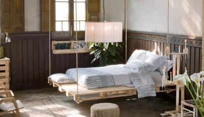 Ambiente ropa cama blanca y gris La Mallorquina