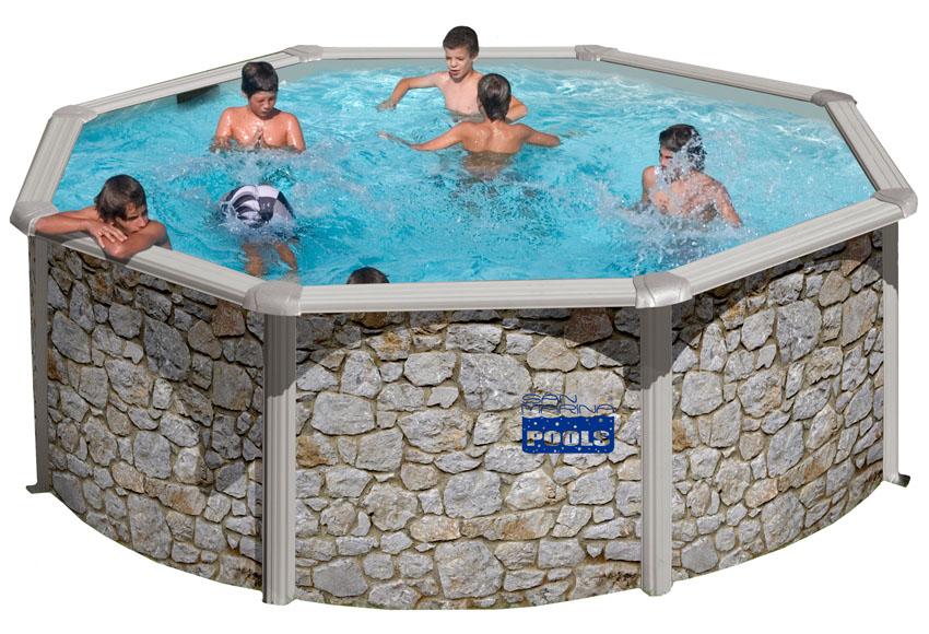 Piscina gre acero piedra redonda for Limpiafondos piscina leroy merlin