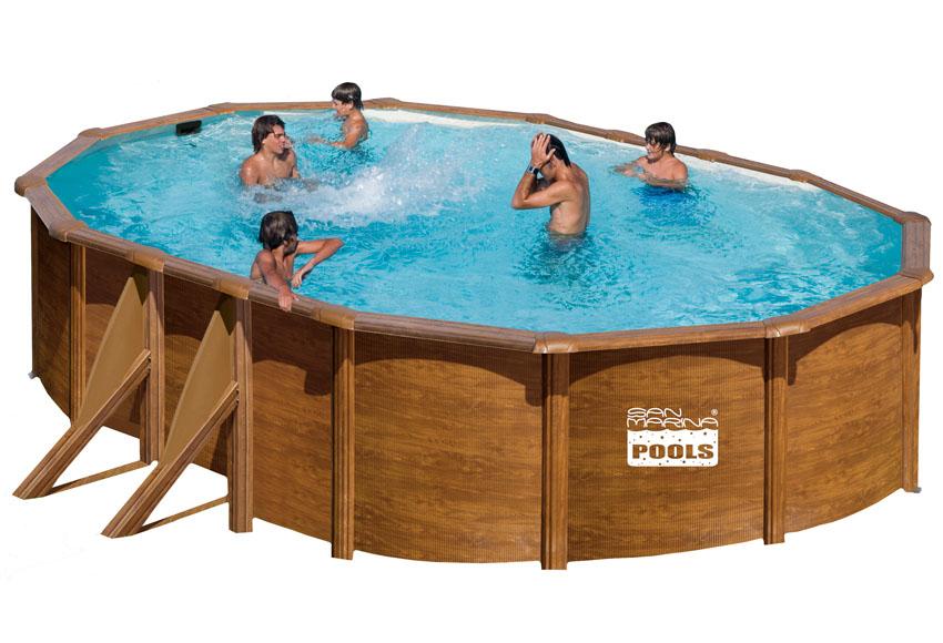 Piscina san marina acero imitacion madera for Bordes de piscinas leroy merlin