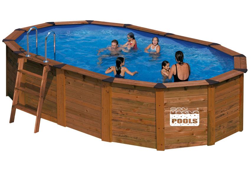Piscina san marina madera ovalada for Limpiafondos piscina leroy merlin