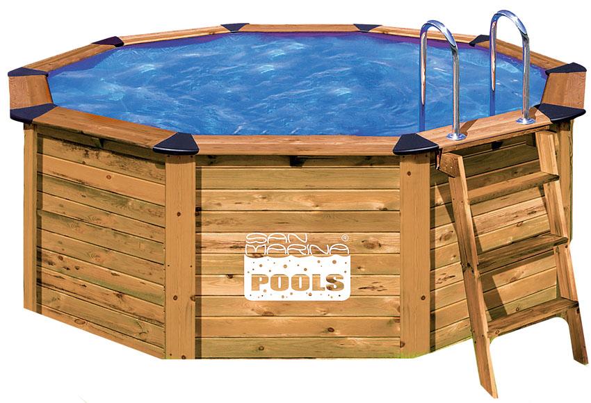 Piscina san marina madera redonda for Bordes de piscinas leroy merlin