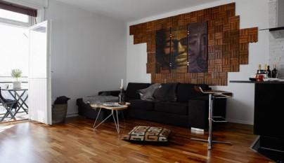 Piso 35 metros sofa cuadro