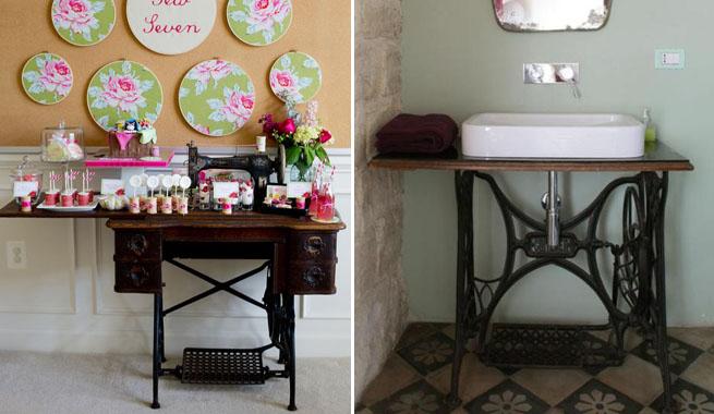 decorar lavabos antiguos : decorar lavabos antiguos:Ideas con pies de máquinas de coser