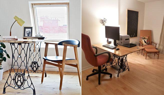 Ideas con pies de m quinas de coser - Mesas de escritorio antiguas ...