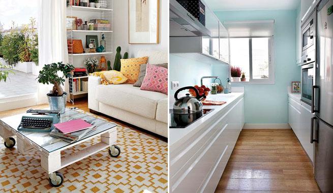 Apartamento Madrid mesa palet y cocina