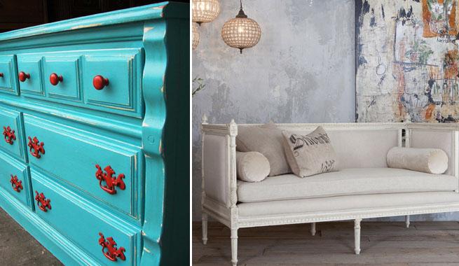 Decorar con muebles envejecidos for Muebles antiguos pintados de blanco