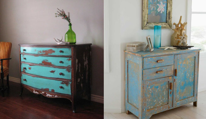 decorar con muebles envejecidos