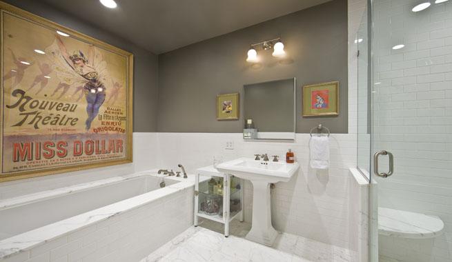 Baño Vintage Moderno:Bano vintage pared gris