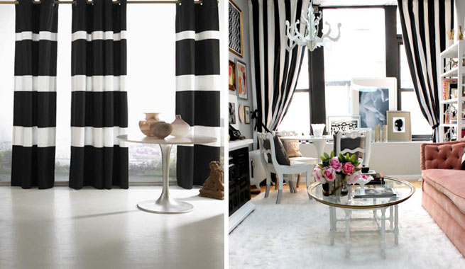 Decorar con rayas blancas y negras - Cortinas negras decoracion ...