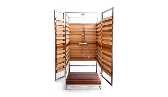 Ducha madera y metal for Ducha madera