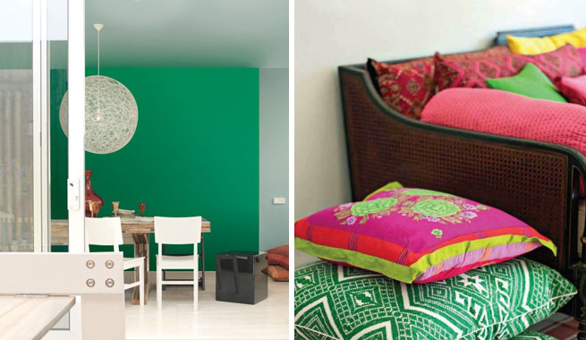 Decoraci n en verde esmeralda ideas for Decoracion para pared fucsia