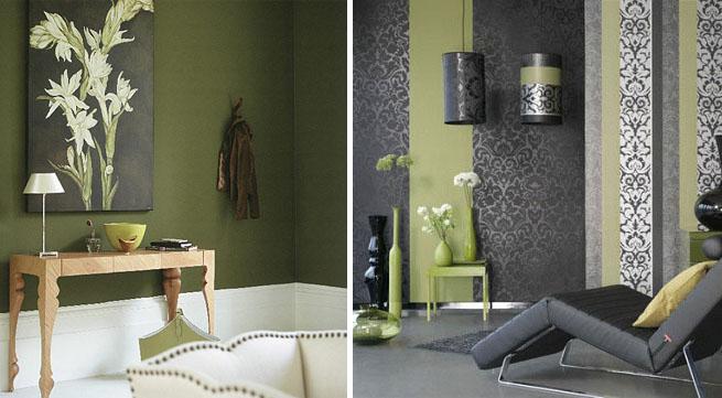 Decoraci n en verde musgo para el oto o - Colores verdes para paredes ...