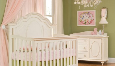 Habitacion infantil rosa verde oliva