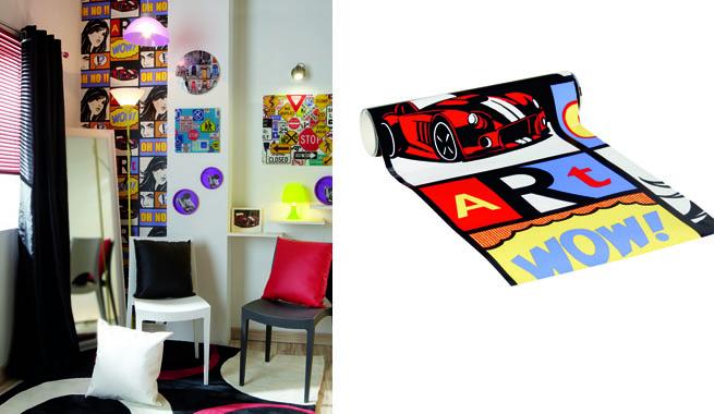 Habitaci n juvenil en estilo pop for Papel pintado comic