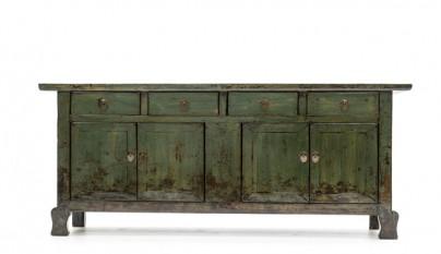 Mueble aparador envejecido verde musgo