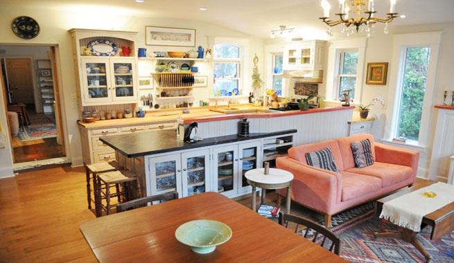 Salon cocina y comedor estilo campestre