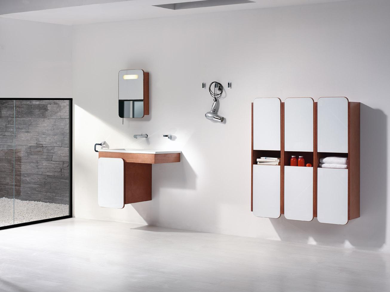 Baño Minimalista Gris:Small Wall Mounted Bathroom Sinks