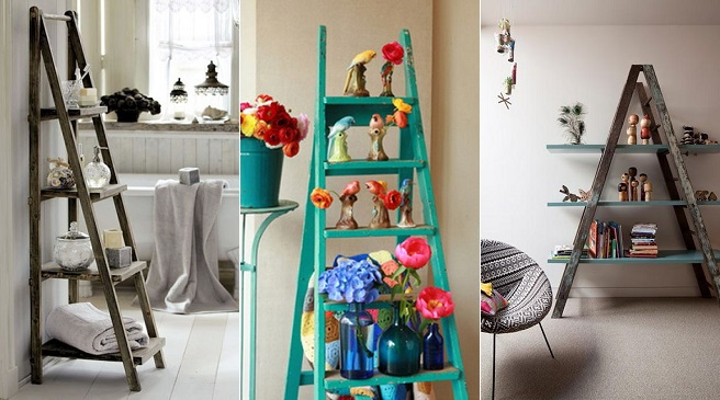 Reutilizar viejas escaleras para decorar for Reciclar cosas para decorar