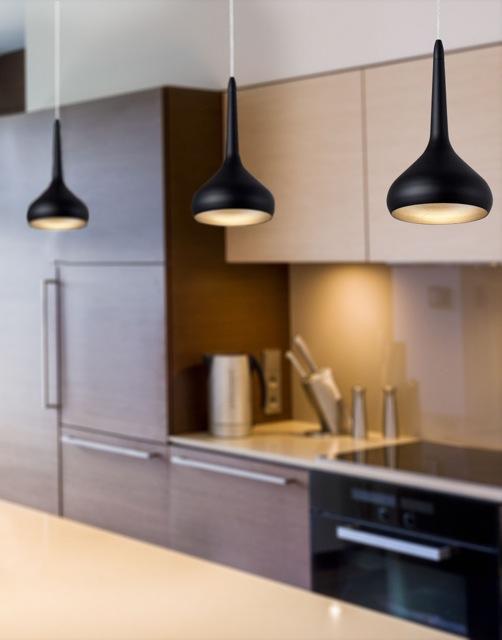 64153 tempo led diseny moderno cocina hilo lampara negra - Lamparas colgantes para cocina ...