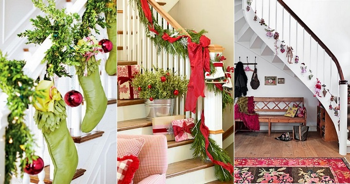 Ideas para decorar una escalera en navidad for Adornos para paredes de escaleras