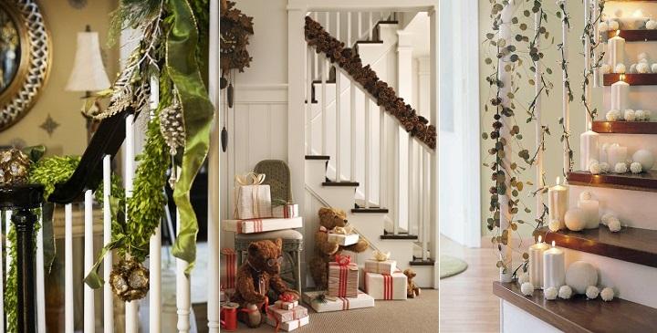 Ideas para decorar una escalera en navidad for Escaleras de adorno