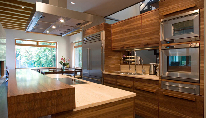 Madera y metal para tu cocina for Cocina moderna color madera