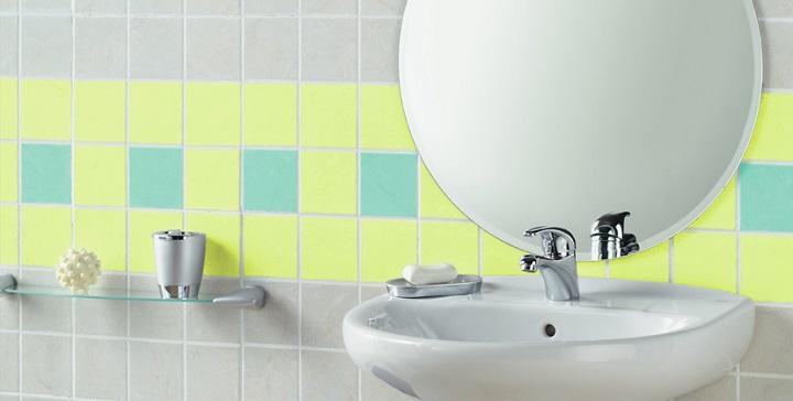 Baños Verde Con Beige:Esmaltes para los azulejos del baño