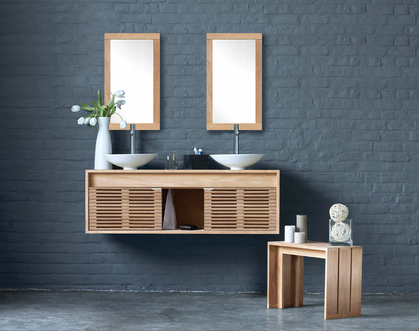 Muebles lavabo dobles pared 174 5153431 for Muebles de lavabo
