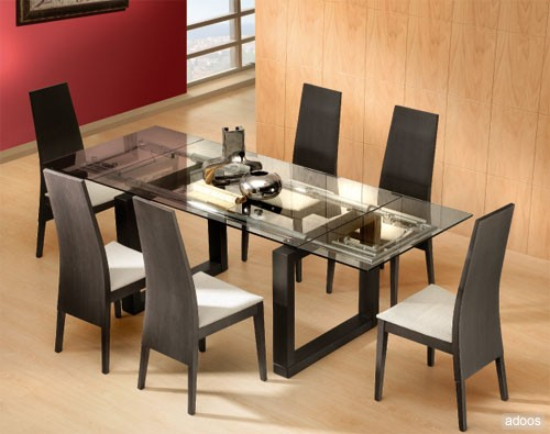 Muebles modernos para el comedor for Adornos mesa comedor cristal