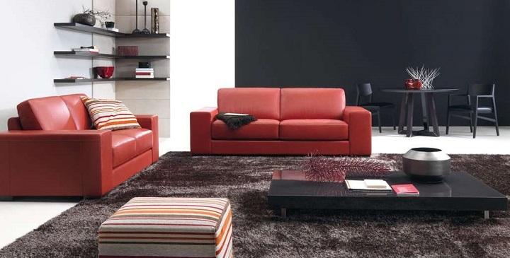 Sof s rojos para el sal n - Salon con sofa rojo ...