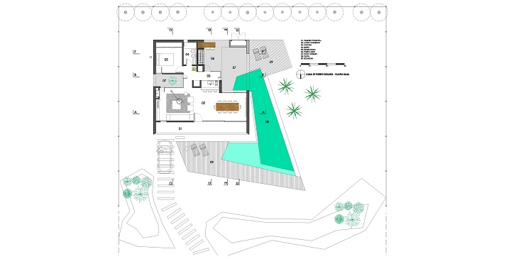 Planos de casas con piscina for Plano alberca