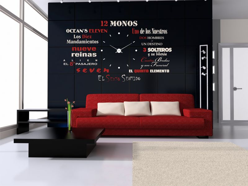 Vinilo decorativo para reloj de pared con nombre de peliculas for Relojes decorativos para salon