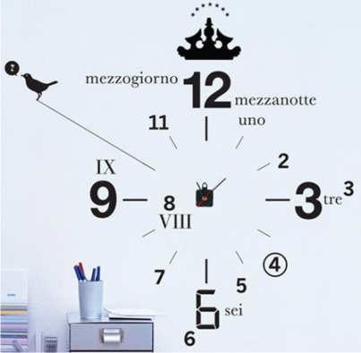 Vinilo decorativo reloj de pared con maquina gigantes 4136 for Vinilo gigante pared