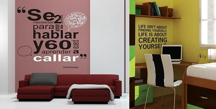 Decorar las paredes con frases for Frases en vinilo para pared