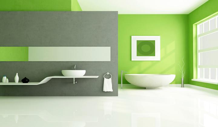 Baño Pintado De Verde:Decoración en color verde