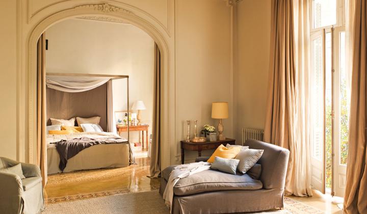 dormitorio con zona de lectura