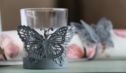 muy mucho mariposas vaso portavelas