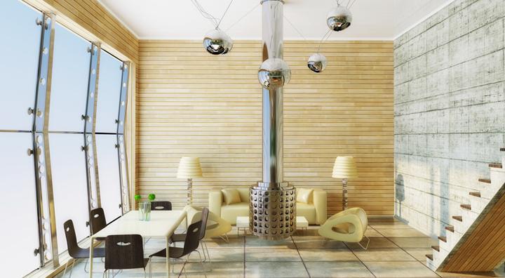 salon con paredes de hormigon