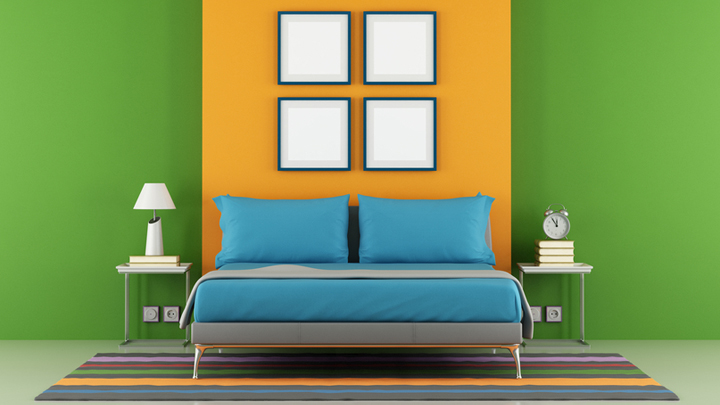 Dormitorio de color naranja - Combinar color suelo y paredes ...